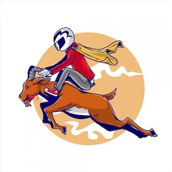 Le cavalier monte une chèvre dans un casque et une cape à la main