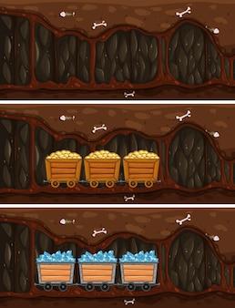 Cave cave avec une charrette en bois