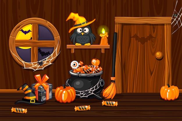 Cave, illustration salle intérieure en bois avec symboles halloween