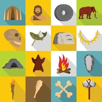 Caveman icons set, style plat