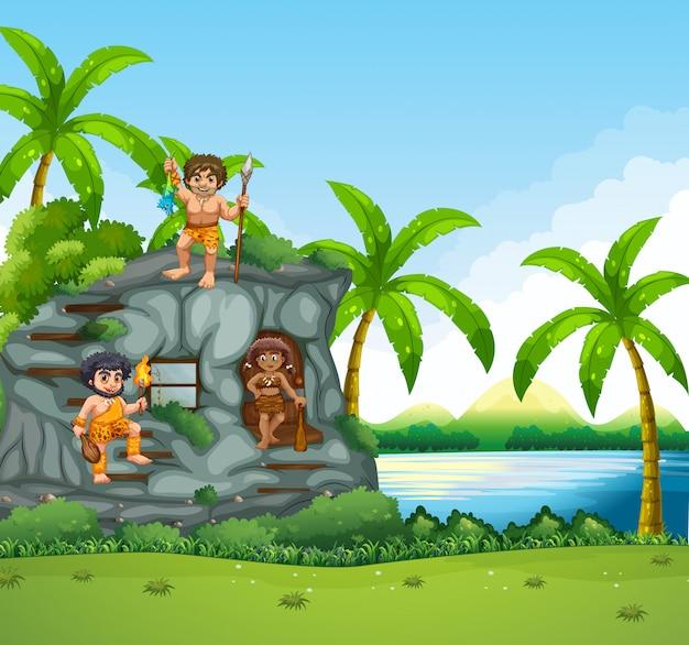 Cavemen vivant au bord du lac
