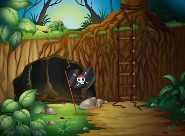 Une caverne et un drapeau de pirate