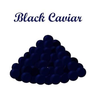 Caviar noir, fabriqué dans un style plat de bande dessinée. fruits de mer d'élite