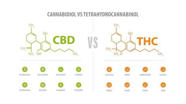 Cbd vs thc, liste des différences avec des icônes et des formules chimiques