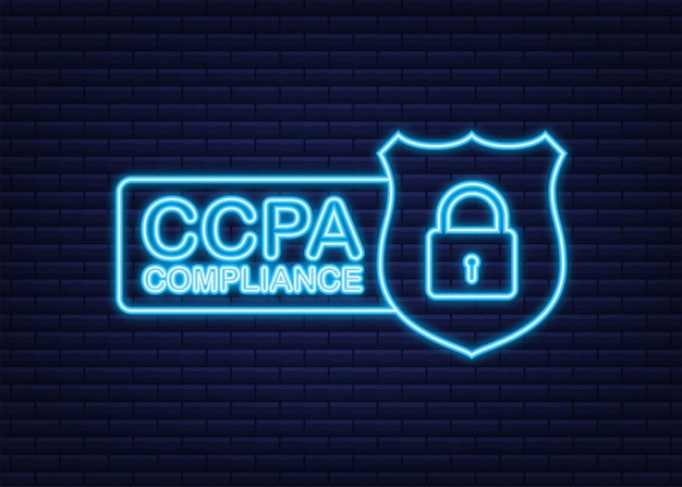 Ccpa grande conception à toutes fins icône de néon de vecteur de sécurité informations sur le site web