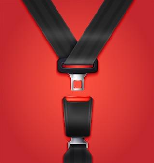 Ceinture de sécurité passager non bloquée réaliste avec attache et sangle noire illustration