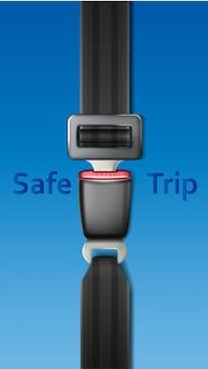 Ceinture de voiture de sécurité de vecteur sur fond bleu