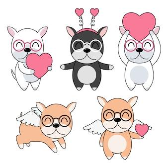Célébratioin de chiens mignons sertie de coeur rose et d'ailes.