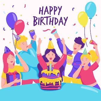 Célébration d'anniversaire colorée