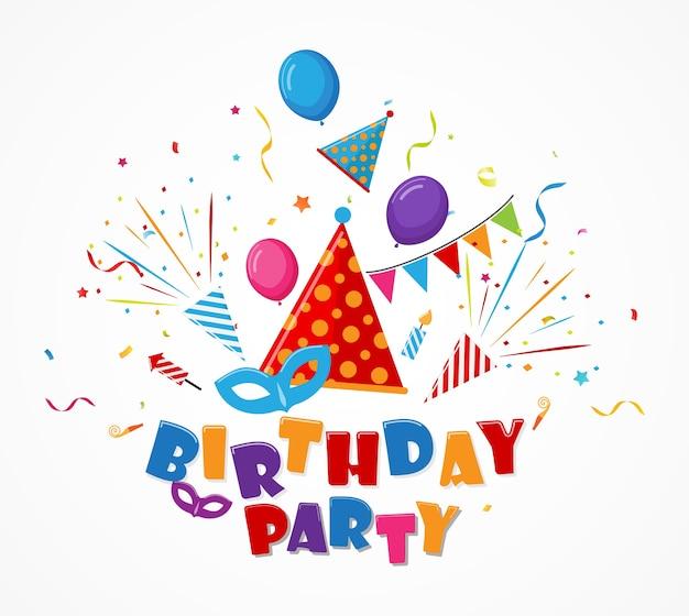Célébration d'anniversaire avec des confettis et une icône de la fête