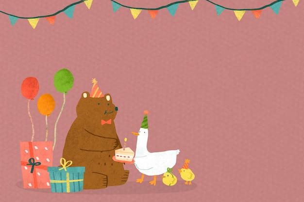 Célébration d'anniversaire de griffonnage d'animaux