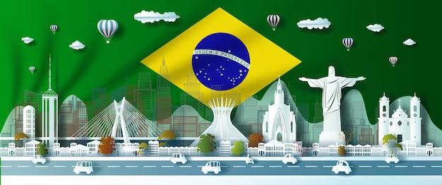 Célébration d'anniversaire d'illustration de point de repère journée du brésil avec fond de drapeau vert