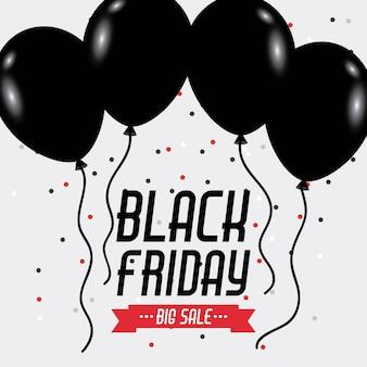 Célébration de ballons et de brille d'affiche de vendredi noir grande vente