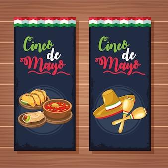 Célébration de cinco de mayo avec de la nourriture mexicaine et un ensemble de bannières de chapeau