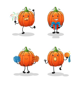 La célébration de la citrouille a mis le caractère. mascotte de dessin animé
