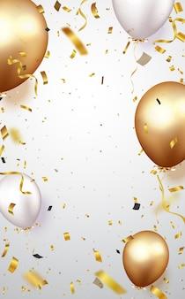Célébration avec des confettis dorés et des ballons