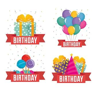 Célébration d'anniversaire définie des icônes vector illustration design