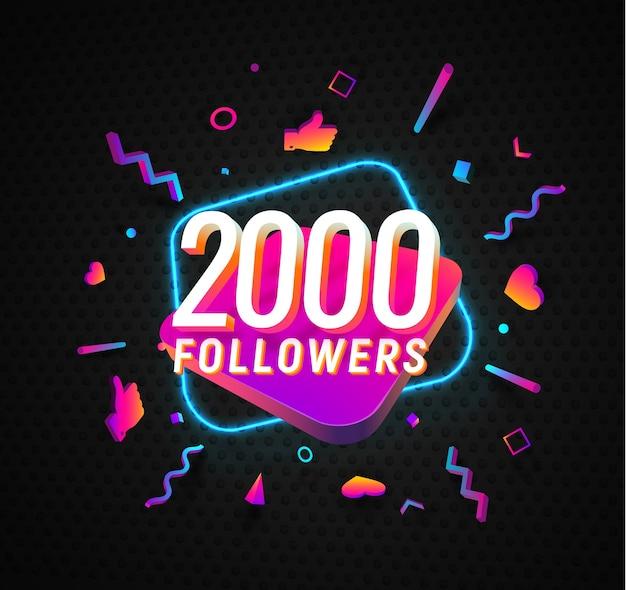 Célébration de deux mille adeptes dans la bannière web de vecteur de médias sociaux sur fond sombre
