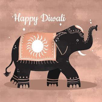 Célébration de diwali d'éléphant dessiné à la main