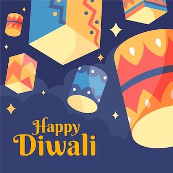 Célébration de diwali formes colorées design plat
