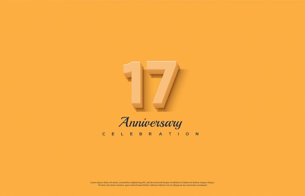 Célébration du 17e anniversaire avec des nombres orange 3d sur fond orange.