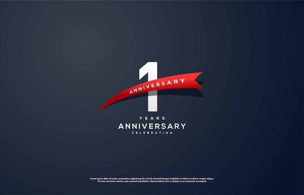 Célébration du 1er anniversaire avec chiffres blancs et ruban rouge.