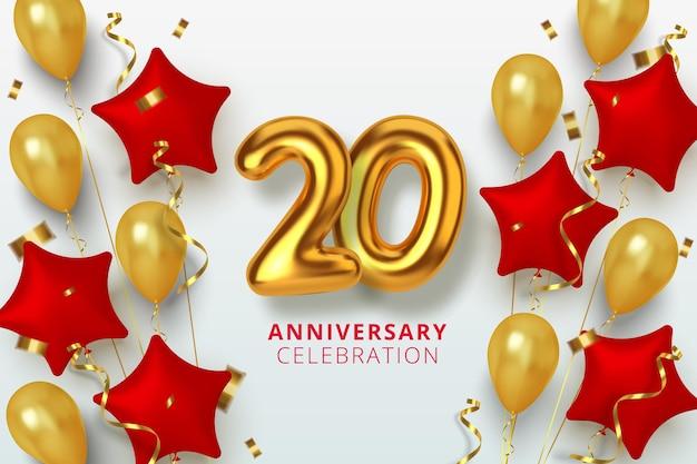 Célébration du 20 anniversaire numéro en forme d'étoile de ballons dorés et rouges. chiffres en or 3d réalistes et confettis étincelants, serpentine.