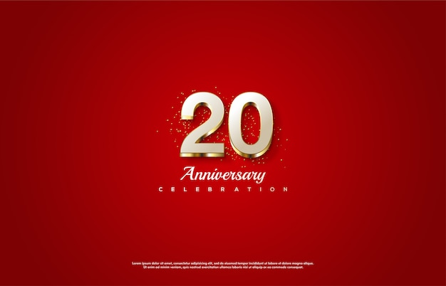 Célébration du 20e anniversaire avec des chiffres blancs et des lignes dorées.
