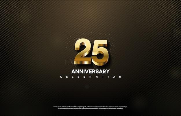 La célébration du 25e anniversaire avec des nombres d'or 3d se démarque.