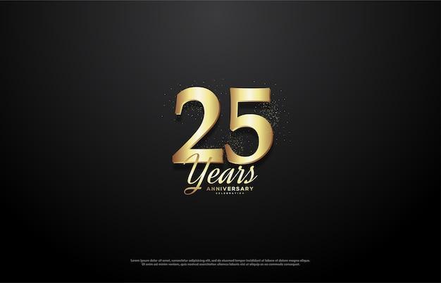 Célébration du 25e anniversaire avec des numéros d'or luxueux.