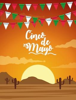Célébration du cinco de mayo avec bannière de désert de guirlandes