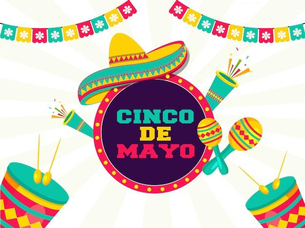 Célébration du festival de cinco de mayo avec des éléments de fête