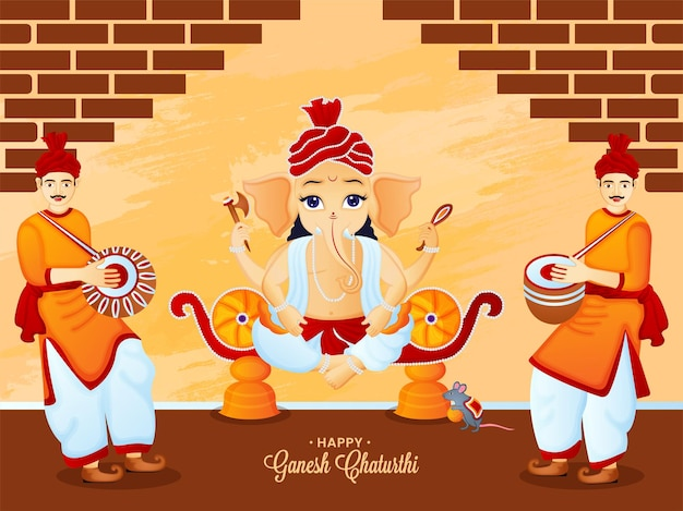 Célébration du festival indien joyeux ganesha chaturthi avec des gens jouant du tambour vecteur premium