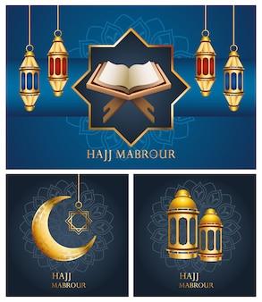 Célébration du hajj mabrour avec des lanternes dorées suspendues et définir des icônes
