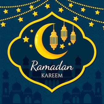 Célébration du jour du ramadan design plat