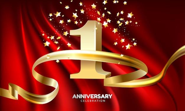 Célébration du logo de l'anniversaire d'or de l'année avec feu d'artifice et ruban