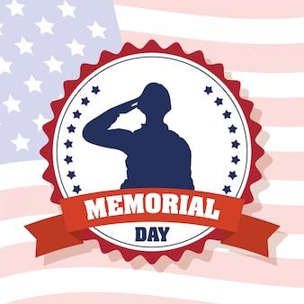 Célébration du memorial day avec le drapeau américain et la silhouette du soldat