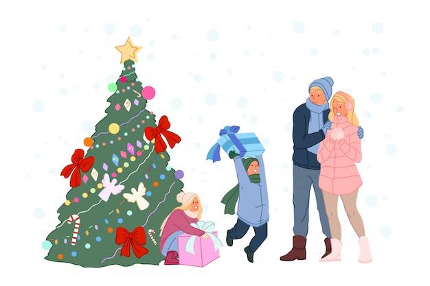 Célébration du nouvel an, cadeaux enfantins sous l'arbre de noël, illustration de promenade familiale d'hiver