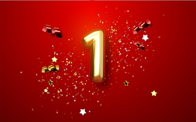Célébration du premier anniversaire. nombre d'or 1 avec des confettis étincelants, des étoiles, des paillettes et des rubans de banderoles