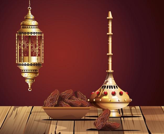 Célébration du ramadan kareem avec calice doré et nourriture