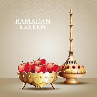 Célébration du ramadan kareem avec calice doré et pommes