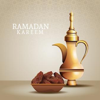Célébration du ramadan kareem avec théière dorée et nourriture
