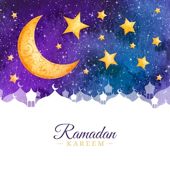 Célébration du ramadan de style aquarelle