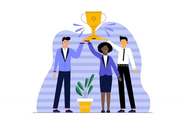 Célébration du succès, gagner le concept d'entreprise de réalisation des objectifs.