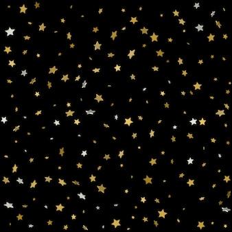 Célébration des étoiles d'or confetti