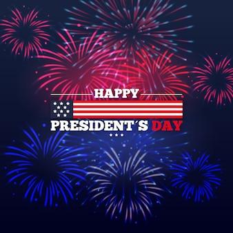 Célébration de l'événement de la journée des présidents avec le thème des feux d'artifice