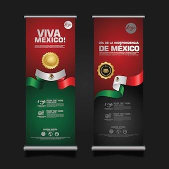 Célébration de la fête de l'indépendance du mexique, retrousser le modèle de jeu de bannière.