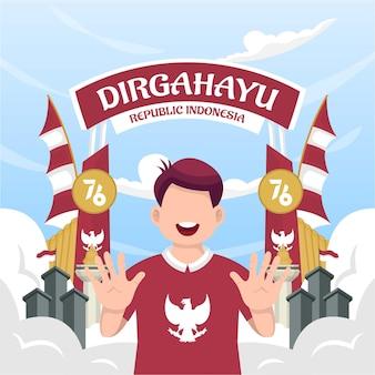 Célébration de la fête de l'indépendance de l'indonésie le 17 août (dirgahayu republik indonesia). drapeaux nationaux indonésiens. illustration vectorielle