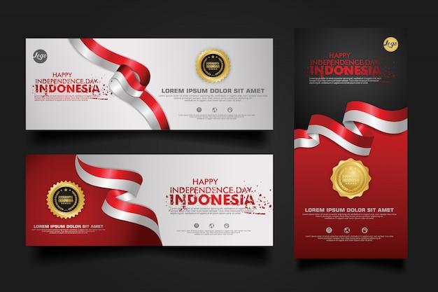 Célébration de la fête de l'indépendance de l'indonésie, bannière définie illustration du modèle de conception