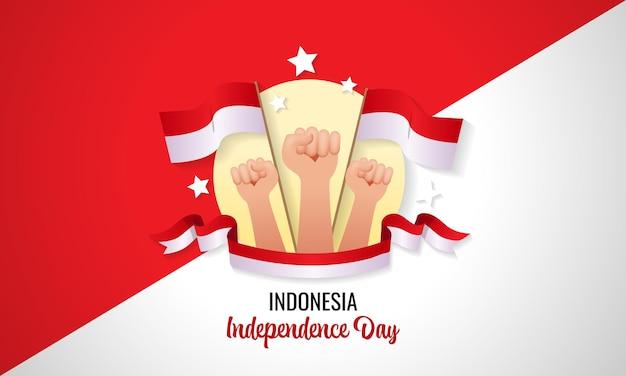 Célébration de la fête de l'indépendance indonésienne poing à main serré conception de vecteur minimal